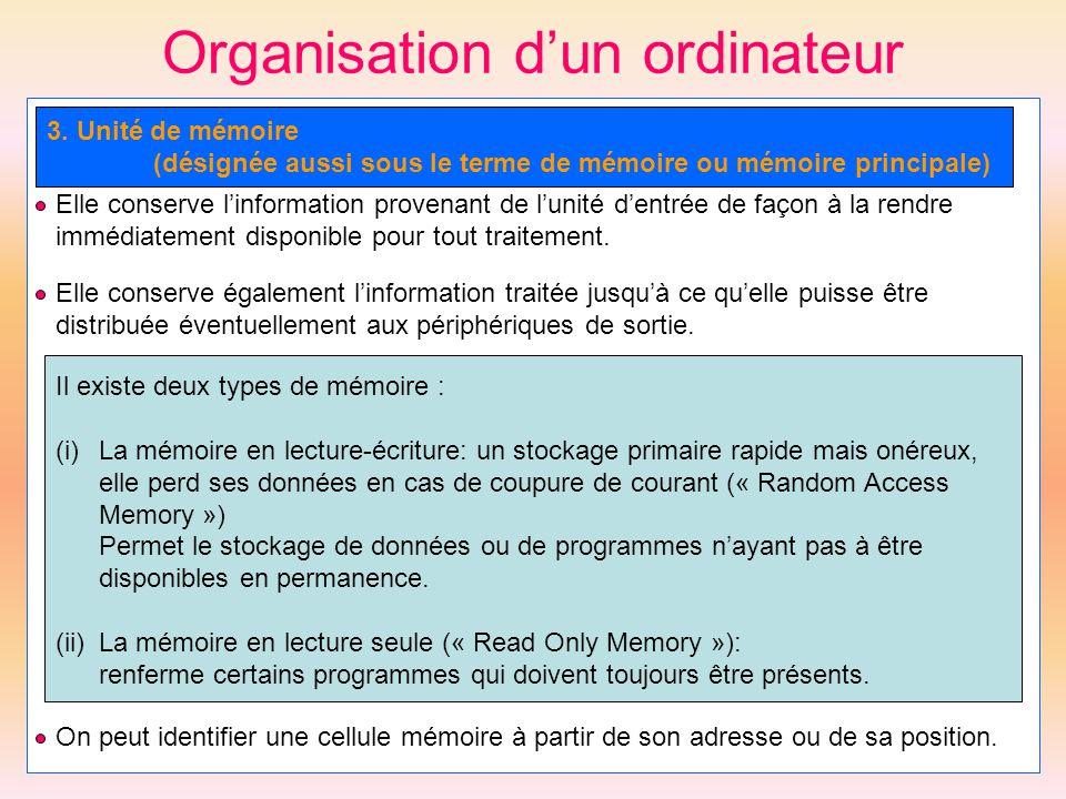 Organisation dun ordinateur 3. Unité de mémoire (désignée aussi sous le terme de mémoire ou mémoire principale) Elle conserve linformation provenant d