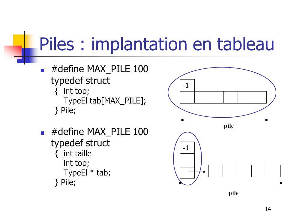 14 pile Piles : implantation en tableau #define MAX_PILE 100 typedef struct {int top; TypeEl tab[MAX_PILE]; } Pile; #define MAX_PILE 100 typedef struct {int taille int top; TypeEl * tab; } Pile;