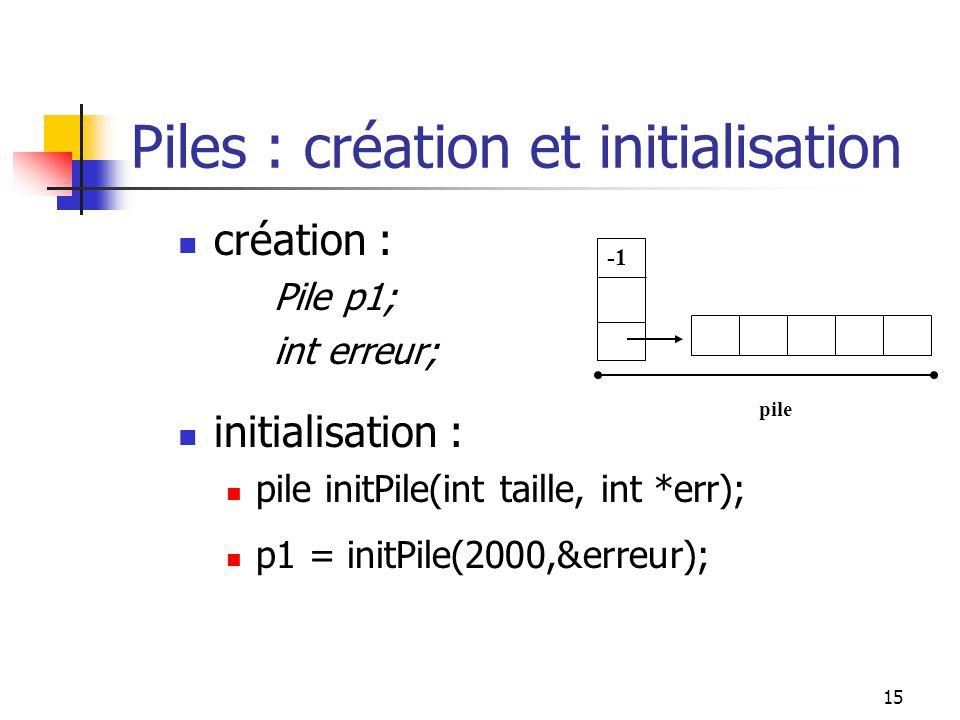 15 création : Pile p1; int erreur; initialisation : pile initPile(int taille, int *err); p1 = initPile(2000,&erreur); Piles : création et initialisation pile