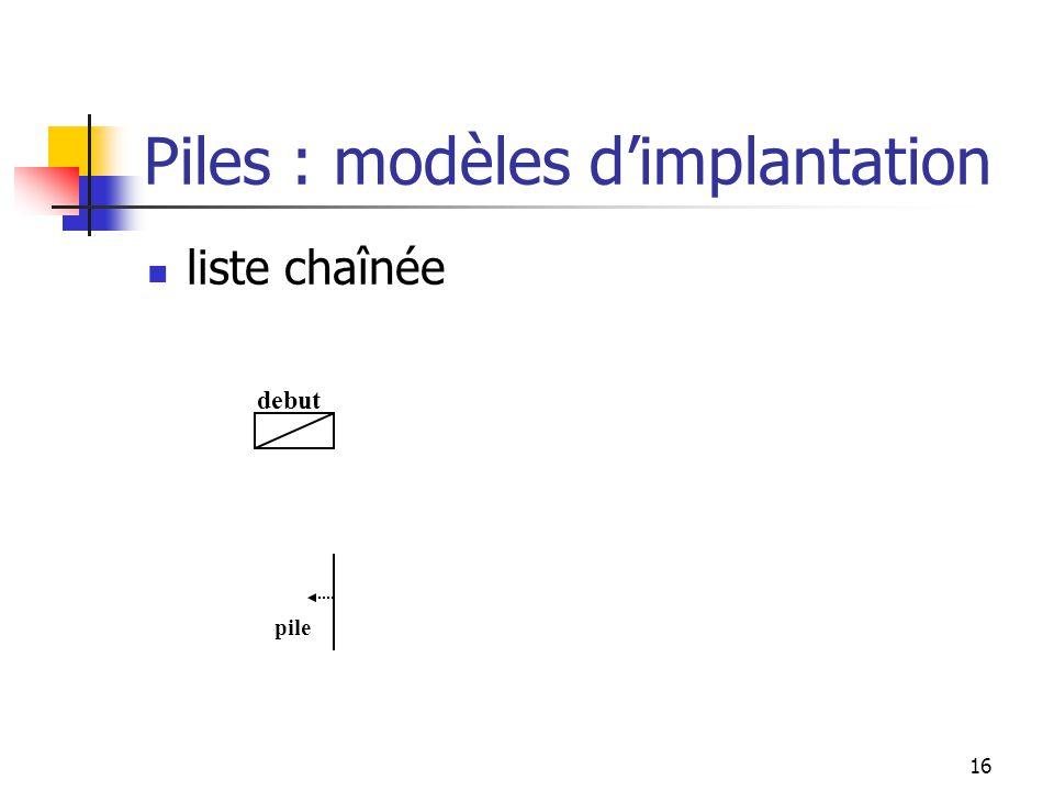 16 liste chaînée debut pile Piles : modèles dimplantation