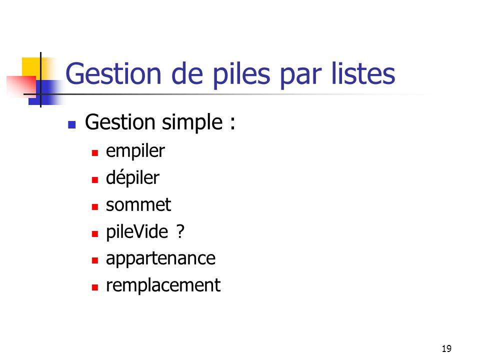 19 Gestion de piles par listes Gestion simple : empiler dépiler sommet pileVide .