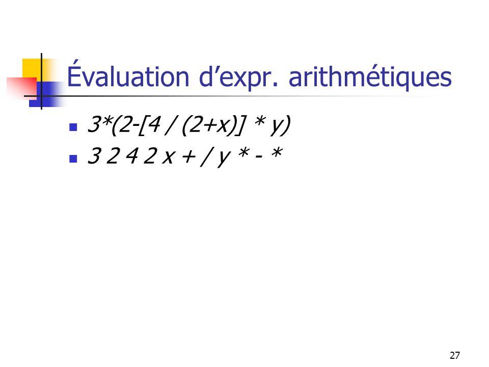 27 3*(2-[4 / (2+x)] * y) 3 2 4 2 x + / y * - * Évaluation dexpr. arithmétiques