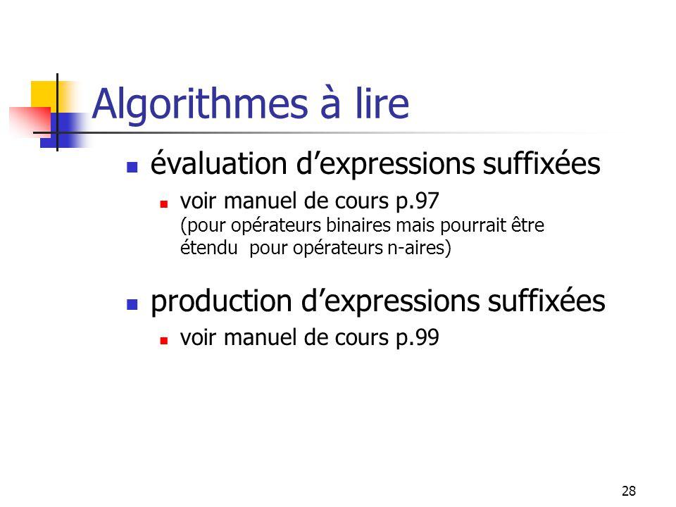 28 évaluation dexpressions suffixées voir manuel de cours p.97 (pour opérateurs binaires mais pourrait être étendu pour opérateurs n-aires) production dexpressions suffixées voir manuel de cours p.99 Algorithmes à lire