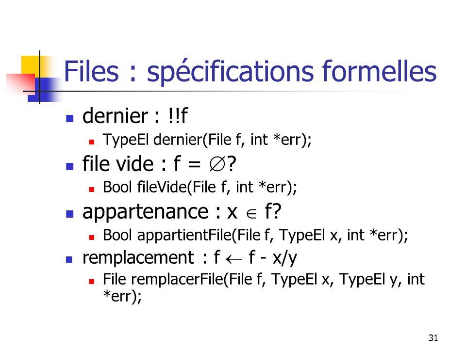 31 Files : spécifications formelles dernier : !!f TypeEl dernier(File f, int *err); file vide : f = .