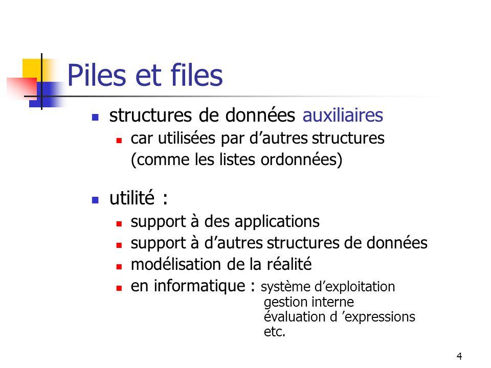 4 Piles et files structures de données auxiliaires car utilisées par dautres structures (comme les listes ordonnées) utilité : support à des applications support à dautres structures de données modélisation de la réalité en informatique : système dexploitation gestion interne évaluation d expressions etc.