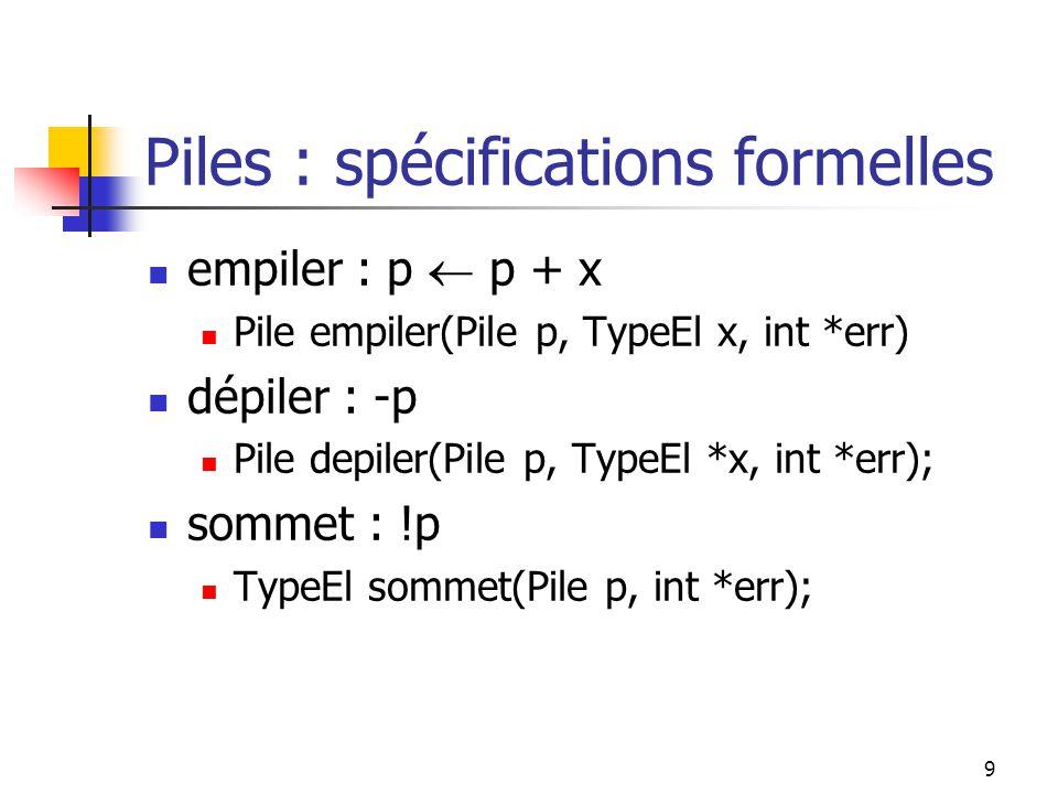 9 Piles : spécifications formelles empiler : p p + x Pile empiler(Pile p, TypeEl x, int *err) dépiler : -p Pile depiler(Pile p, TypeEl *x, int *err); sommet : !p TypeEl sommet(Pile p, int *err);
