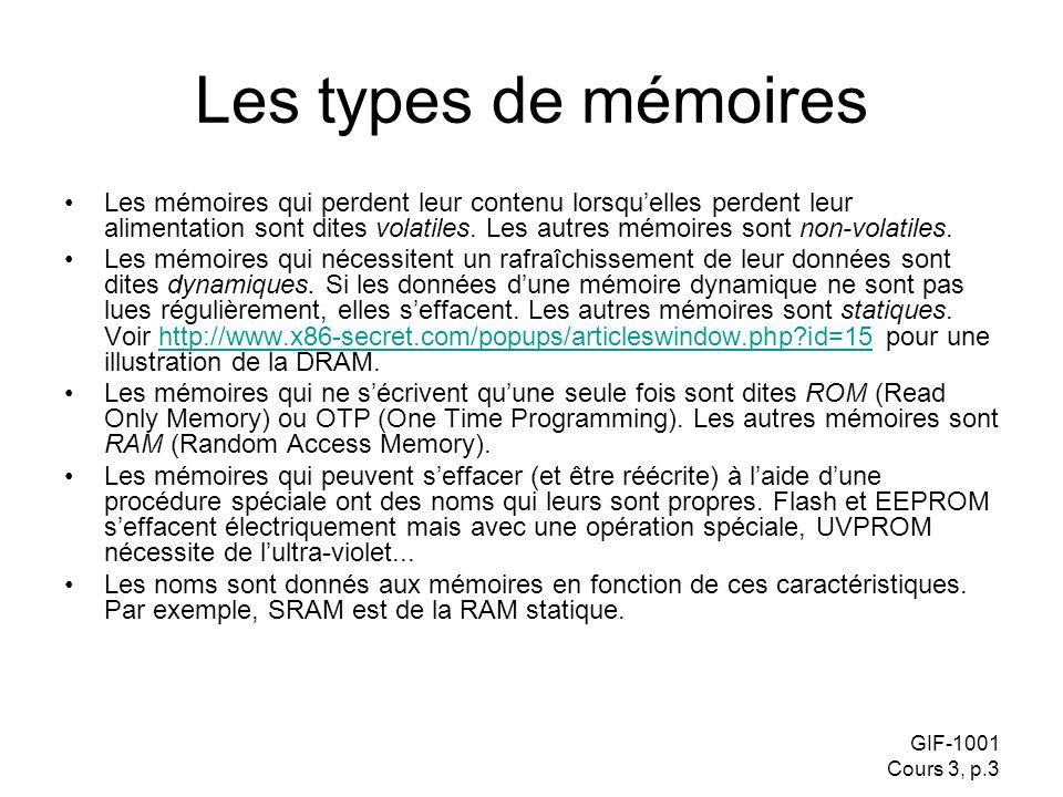 GIF-1001 Cours 3, p.3 Les types de mémoires Les mémoires qui perdent leur contenu lorsquelles perdent leur alimentation sont dites volatiles. Les autr