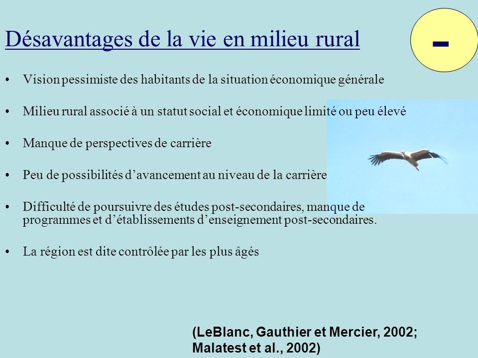Désavantages de la vie en milieu rural Vision pessimiste des habitants de la situation économique générale Milieu rural associé à un statut social et