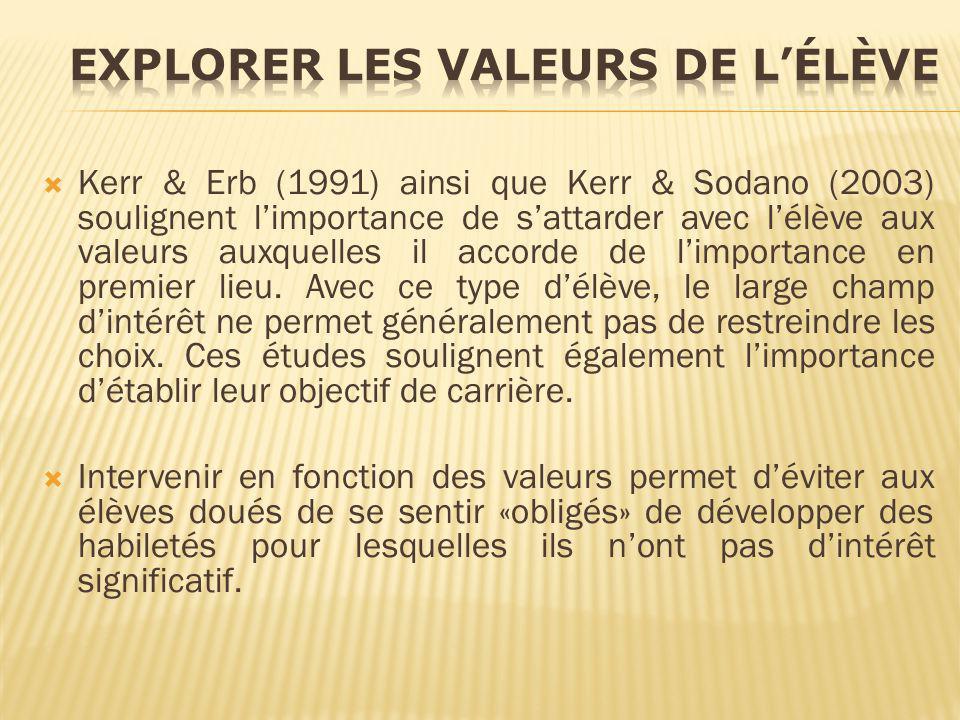 Kerr & Erb (1991) ainsi que Kerr & Sodano (2003) soulignent limportance de sattarder avec lélève aux valeurs auxquelles il accorde de limportance en p