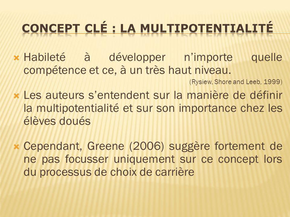 Habileté à développer nimporte quelle compétence et ce, à un très haut niveau. (Rysiew, Shore and Leeb, 1999) Les auteurs sentendent sur la manière de