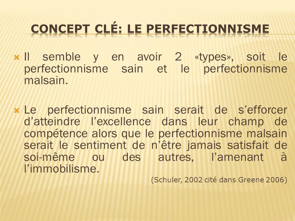 Il semble y en avoir 2 «types», soit le perfectionnisme sain et le perfectionnisme malsain. Le perfectionnisme sain serait de sefforcer datteindre lex