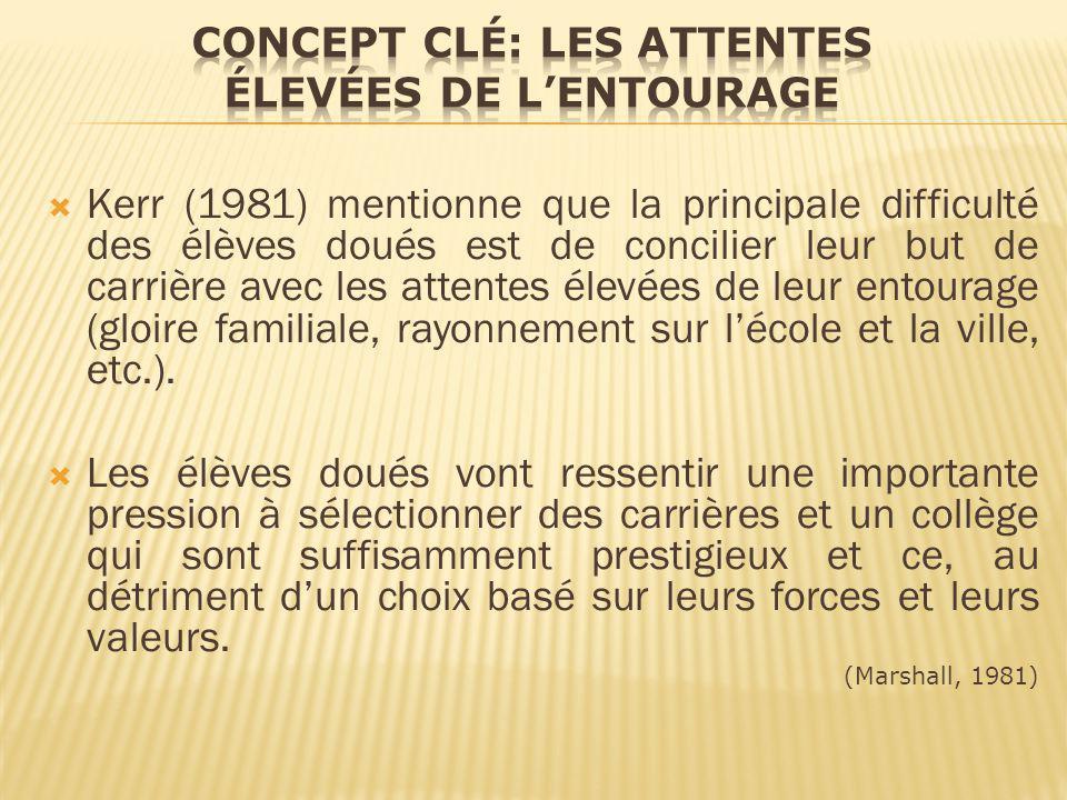 Kerr (1981) mentionne que la principale difficulté des élèves doués est de concilier leur but de carrière avec les attentes élevées de leur entourage