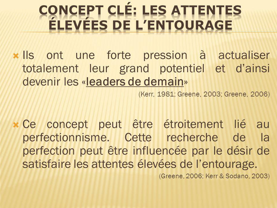 Ils ont une forte pression à actualiser totalement leur grand potentiel et dainsi devenir les «leaders de demain» (Kerr, 1981; Greene, 2003; Greene, 2