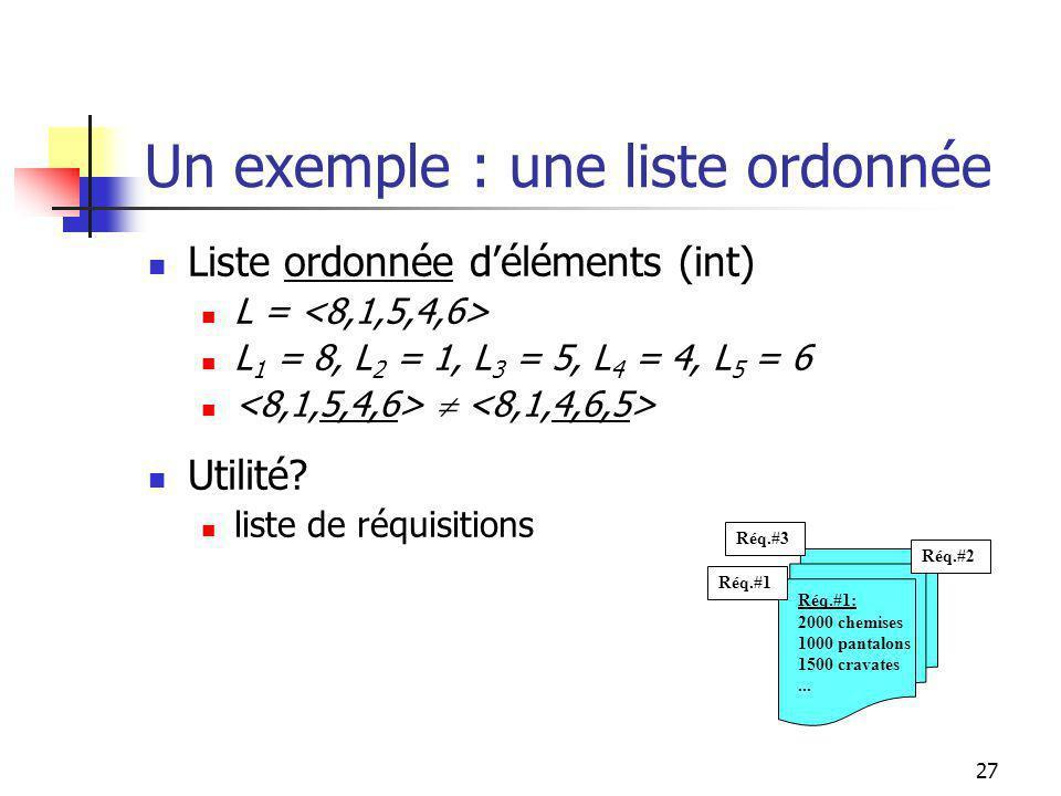 26 Liste ordonnée déléments (int) L = L 1 = 8, L 2 = 1, L 3 = 5, L 4 = 4, L 5 = 6 Utilité.