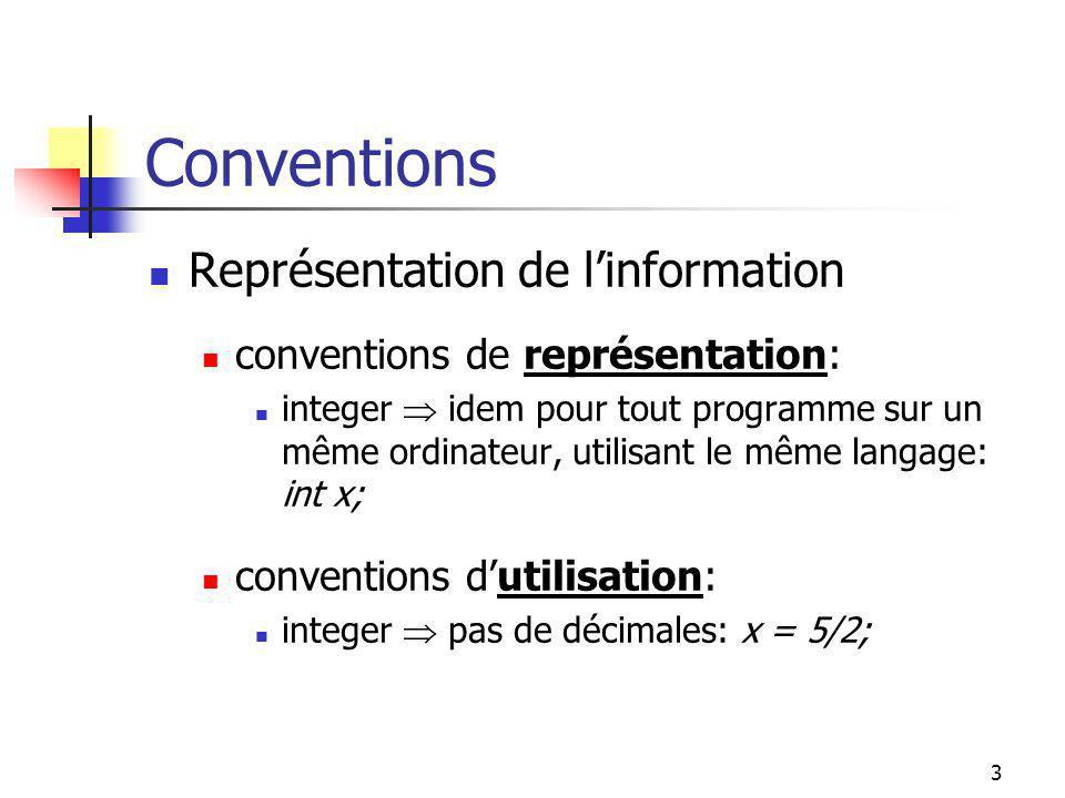 2 Programme = Algo. + données Programmes et informations information intermédiaire outputinput