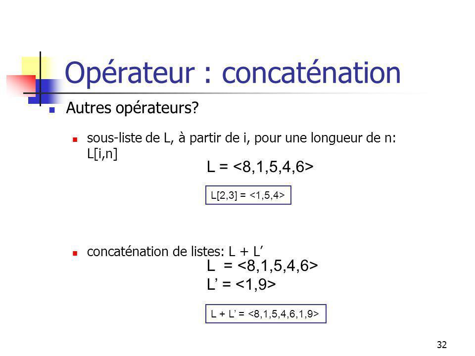 31 Manipulations (opérateurs): L L = .(i.e., L = 0?) x L.