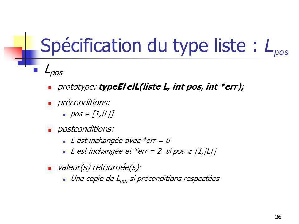 35 Spécification du type liste : - L L - x prototype: liste enleverXL(liste L, typeEl x, int *err); préconditions: x doit appartenir à L postconditions: L contient un élément x de moins (le premier rencontré) avec *err = 0 *err = 3 si x L valeur(s) retournée(s): L inchangée si x nappartenait pas à L L mise à jour sinon