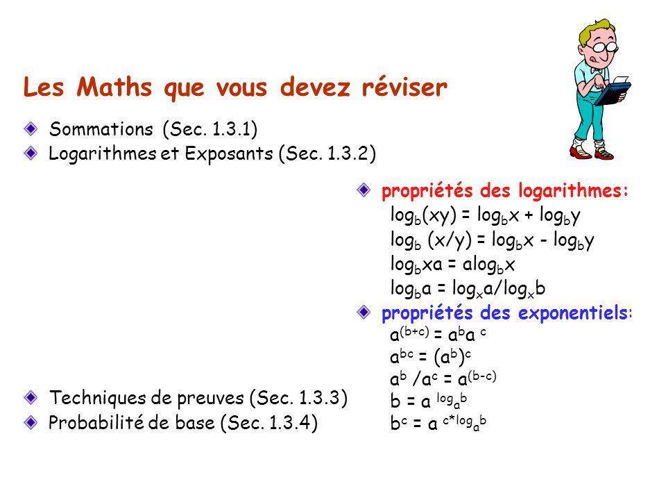 propriétés des logarithmes: log b (xy) = log b x + log b y log b (x/y) = log b x - log b y log b xa = alog b x log b a = log x a/log x b propriétés de
