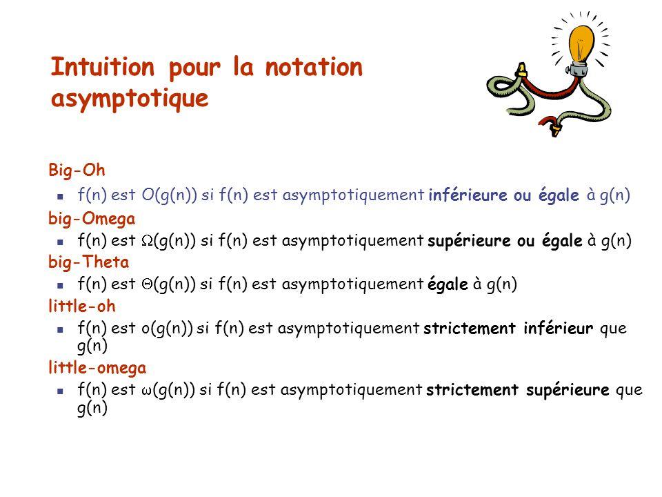 Intuition pour la notation asymptotique Big-Oh f(n) est O(g(n)) si f(n) est asymptotiquement inférieure ou égale à g(n) big-Omega f(n) est (g(n)) si f