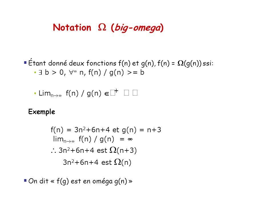 Notation (big-omega) Étant donné deux fonctions f(n) et g(n), f(n) = (g(n)) ssi: b > 0, n, f(n) / g(n) >= b Lim n f(n) / g(n) + Exemple f(n) = 3n 2 +6