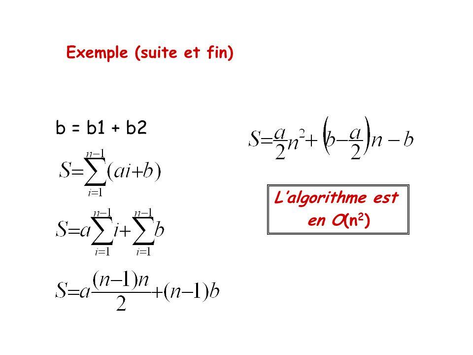 Exemple (suite et fin) b = b1 + b2 Lalgorithme est en O(n 2 )