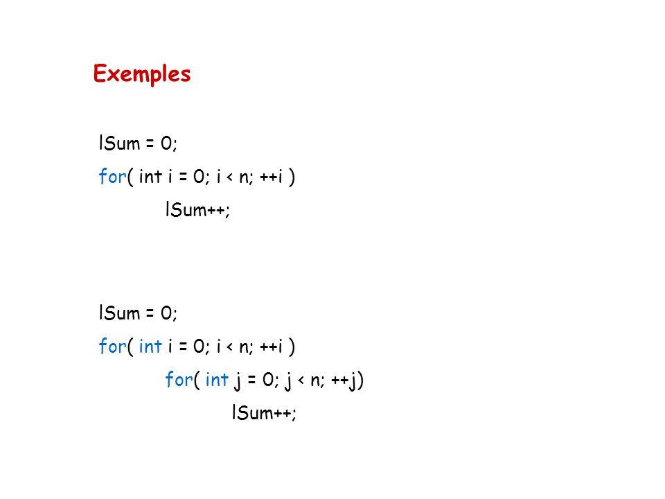 Exemples lSum = 0; for( int i = 0; i < n; ++i ) lSum++; lSum = 0; for( int i = 0; i < n; ++i ) for( int j = 0; j < n; ++j) lSum++;