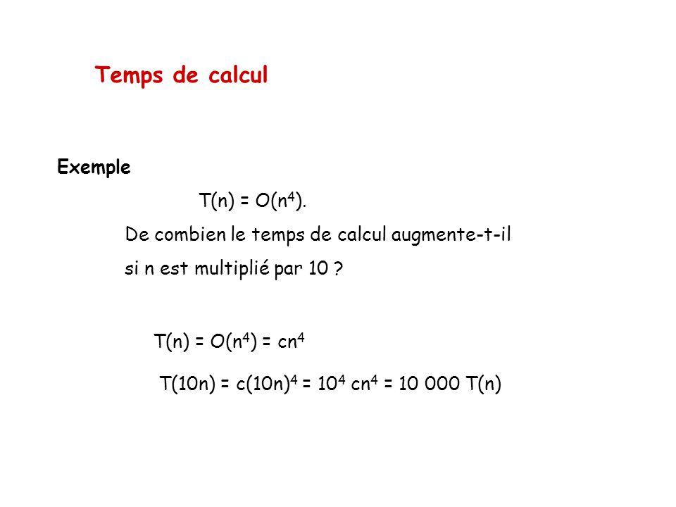 Temps de calcul Exemple T(n) = O(n 4 ). De combien le temps de calcul augmente-t-il si n est multiplié par 10 ? T(n) = O(n 4 ) = cn 4 T(10n) = c(10n)