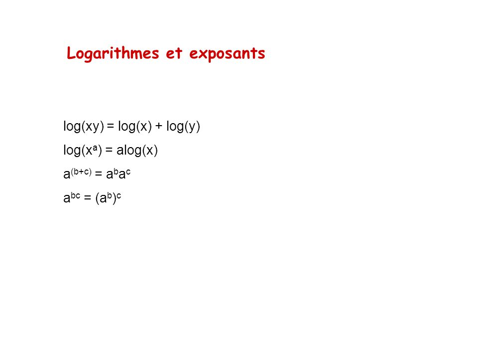 Logarithmes et exposants log(xy) = log(x) + log(y) log(x a ) = alog(x) a (b+c) = a b a c a bc = (a b ) c