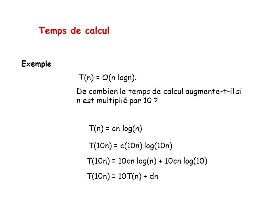 Temps de calcul Exemple T(n) = O(n logn). De combien le temps de calcul augmente-t-il si n est multiplié par 10 ? T(n) = cn log(n) T(10n) = c(10n) log
