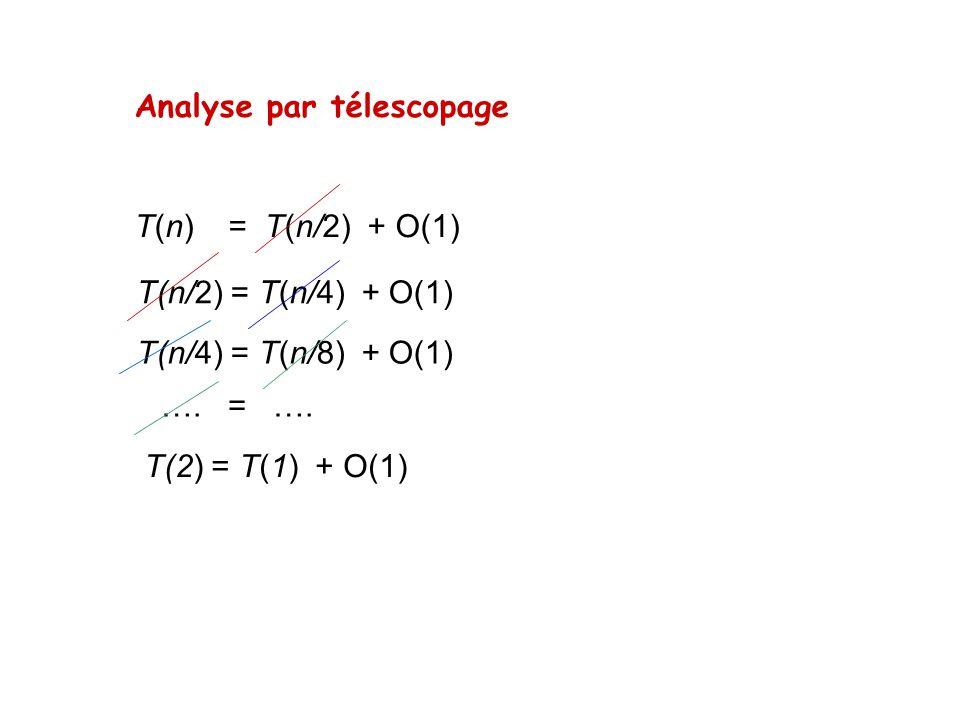 Analyse par télescopage T(n) = T(n/2) + O(1) T(n/2) = T(n/4) + O(1) T(n/4) = T(n/8) + O(1) …. = …. T(2) = T(1) + O(1)