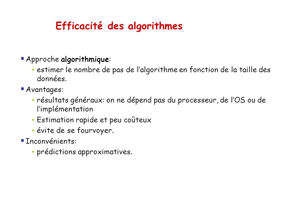 Notation O(g(n)) (big-oh) Pour un nombre n assez grand f(n) an 2 Temps d exécution d un algorithme A est f(n) = an 2 + bn + c g(n) = n 2 On écrit : A est O(n 2 ) On lit : l algorithme A tourne en O(n 2 ) Classes : O(1), O(n), O(n 2 ), O(n 3 ), O(log n), …
