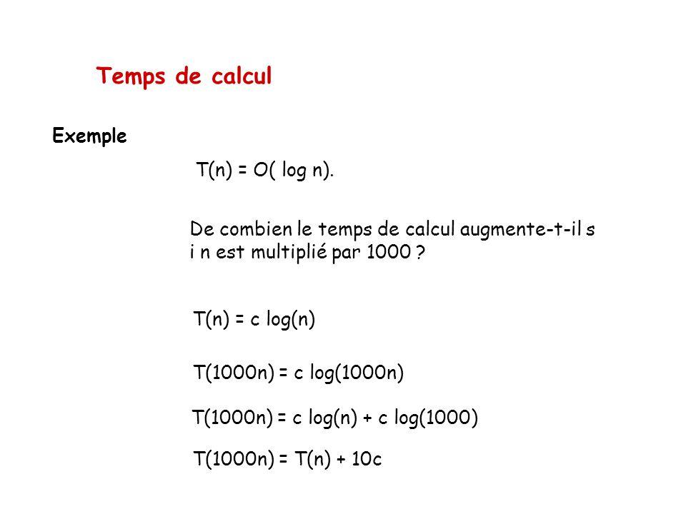 Temps de calcul Exemple T(n) = O( log n). De combien le temps de calcul augmente-t-il s i n est multiplié par 1000 ? T(n) = c log(n) T(1000n) = c log(