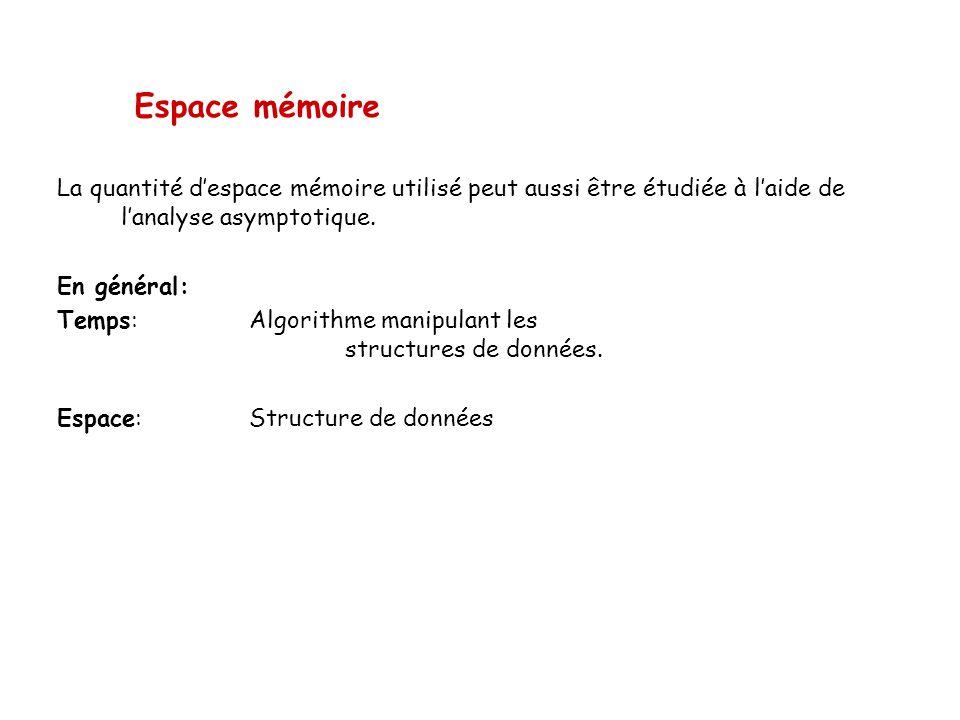 Espace mémoire La quantité despace mémoire utilisé peut aussi être étudiée à laide de lanalyse asymptotique. En général: Temps: Algorithme manipulant
