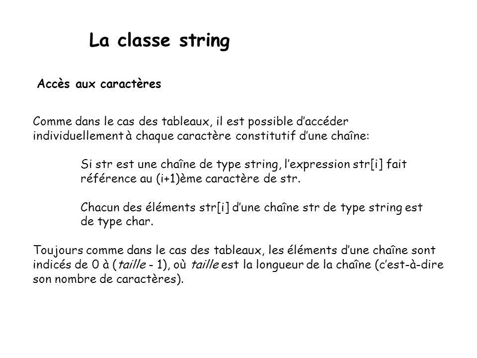 La classe string Accès aux caractères Comme dans le cas des tableaux, il est possible daccéder individuellement à chaque caractère constitutif dune chaîne: Si str est une chaîne de type string, lexpression str[i] fait référence au (i+1)ème caractère de str.