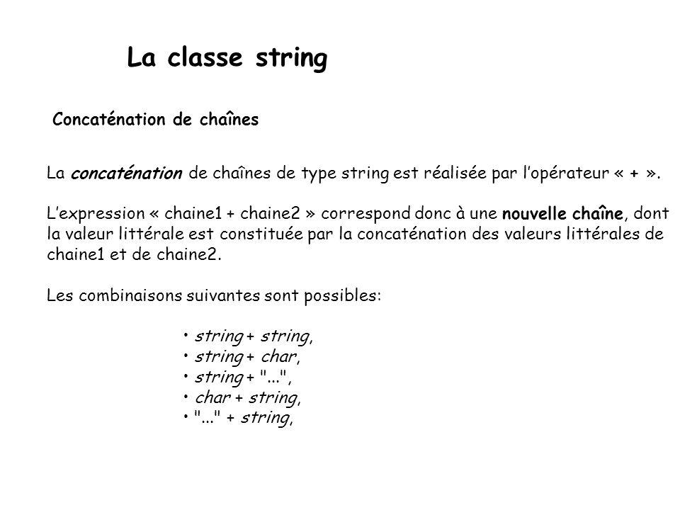 La classe string Concaténation de chaînes La concaténation de chaînes de type string est réalisée par lopérateur « + ».