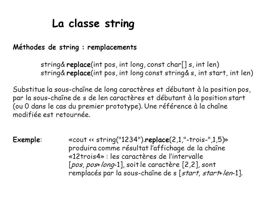 La classe string Méthodes de string : remplacements string& replace(int pos, int long, const char[] s, int len) string& replace(int pos, int long const string& s, int start, int len) Substitue la sous-chaîne de long caractères et débutant à la position pos, par la sous-chaîne de s de len caractères et débutant à la position start (ou 0 dans le cas du premier prototype).