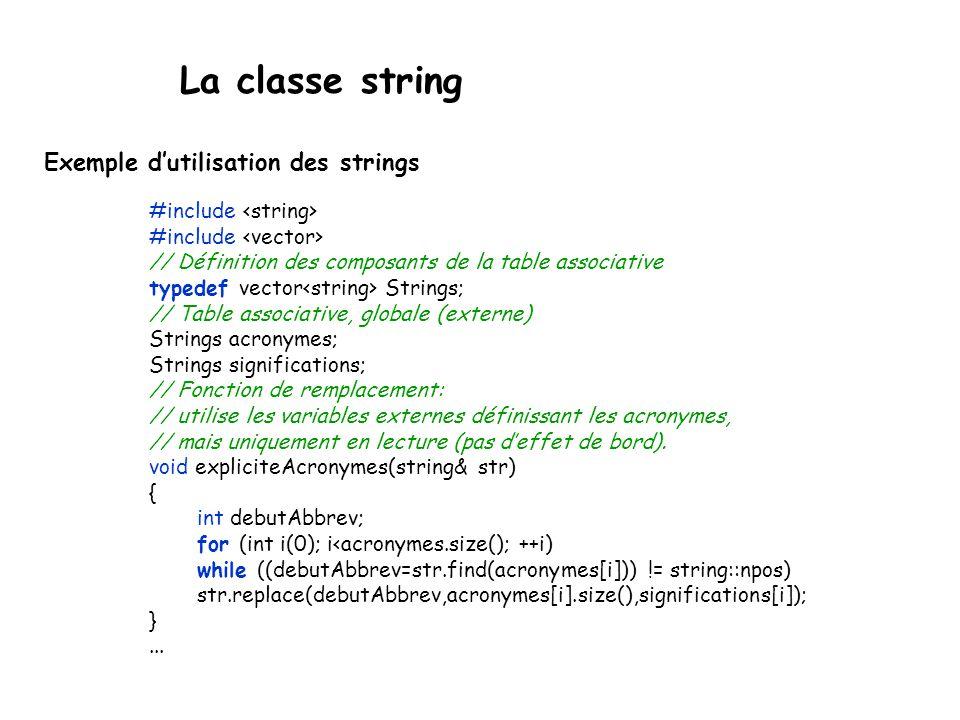La classe string Exemple dutilisation des strings #include // Définition des composants de la table associative typedef vector Strings; // Table associative, globale (externe) Strings acronymes; Strings significations; // Fonction de remplacement: // utilise les variables externes définissant les acronymes, // mais uniquement en lecture (pas deffet de bord).