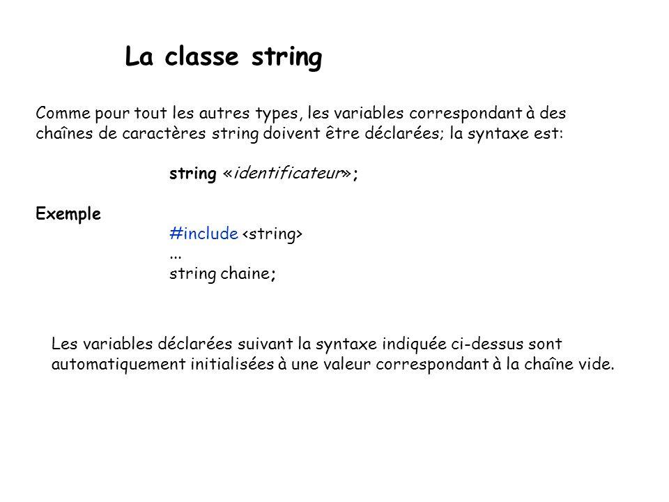 La classe string Méthodes de string : insertions string& insert(int pos, const char[] s, int len) string& insert(int pos, const string& s, int start=0, int len=npos) Insère, à partir de la position indiçée par pos, une sous-chaîne de s débutant à la position start (ou 0 dans le cas du premier prototype), et de longueur len.