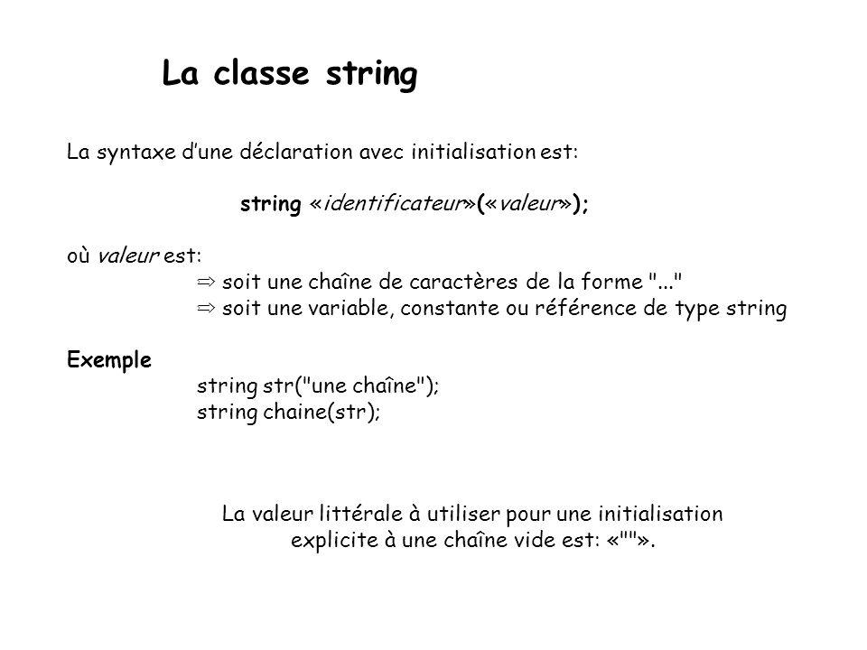 La classe string La syntaxe dune déclaration avec initialisation est: string «identificateur»(«valeur»); où valeur est: soit une chaîne de caractères de la forme ... soit une variable, constante ou référence de type string Exemple string str( une chaîne ); string chaine(str); La valeur littérale à utiliser pour une initialisation explicite à une chaîne vide est: « ».