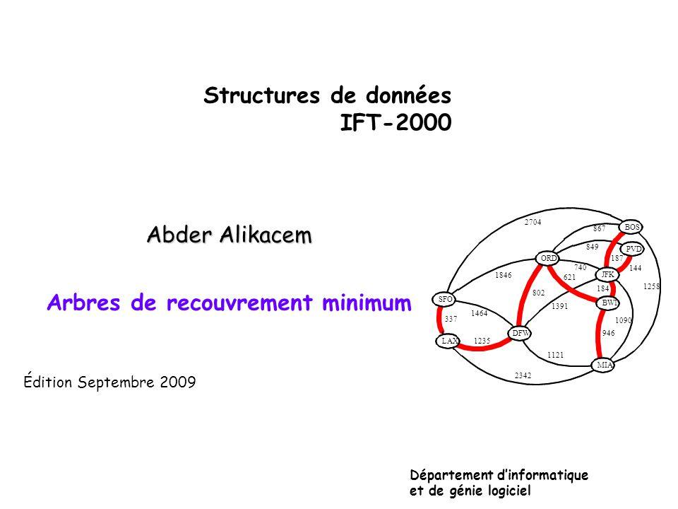 Structures de données IFT-2000 Abder Alikacem Arbres de recouvrement minimum Département dinformatique et de génie logiciel Édition Septembre 2009 JFK