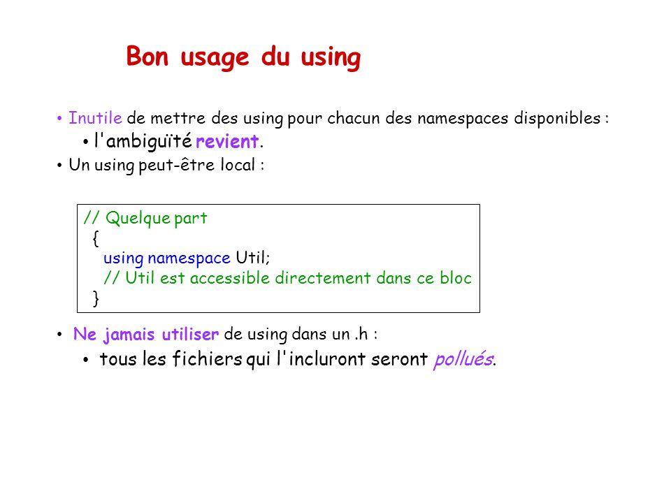 Bon usage du using Inutile de mettre des using pour chacun des namespaces disponibles : l ambiguïté revient.