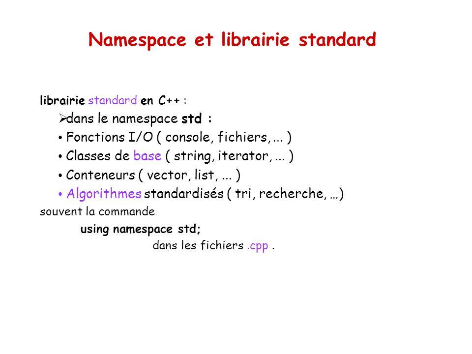 Namespace et librairie standard librairie standard en C++ : dans le namespace std : Fonctions I/O ( console, fichiers,...