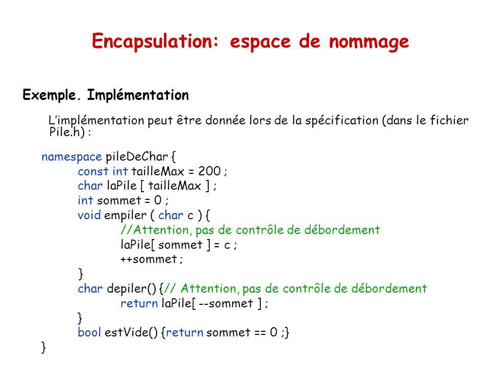 Encapsulation: espace de nommage Exemple.
