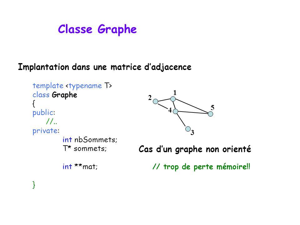 Classe Graphe template class Graphe { public: //.. private: int nbSommets; T* sommets; int **mat; // trop de perte mémoire!! } Cas dun graphe non orie