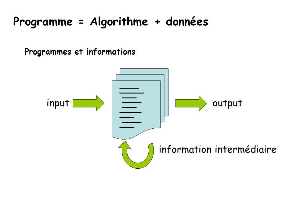 Programmes et informations information intermédiaire outputinput Programme = Algorithme + données
