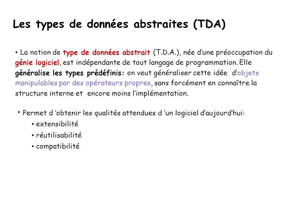 La notion de type de données abstrait (T.D.A.), née dune préoccupation du génie logiciel, est indépendante de tout langage de programmation. Elle géné