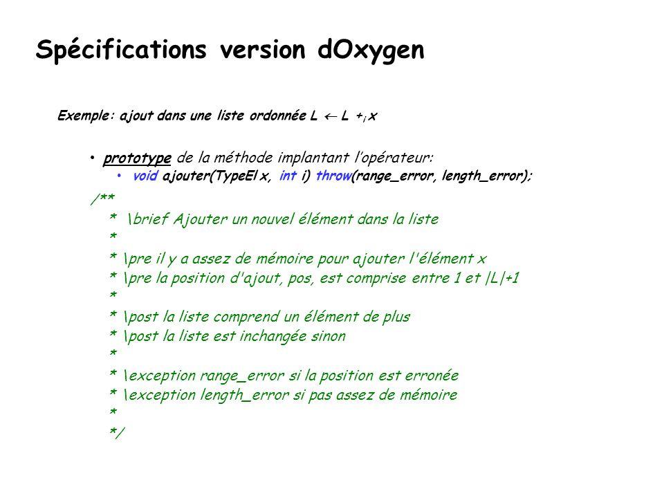 Spécifications version dOxygen Exemple: ajout dans une liste ordonnée L L + i x prototype de la méthode implantant lopérateur: void ajouter(TypeEl x,