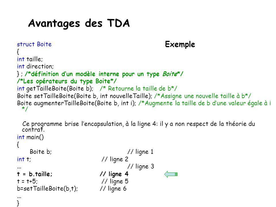 struct Boite { int taille; int direction; } ; /*définition dun modèle interne pour un type Boite*/ /*Les opérateurs du type Boite*/ int getTailleBoite