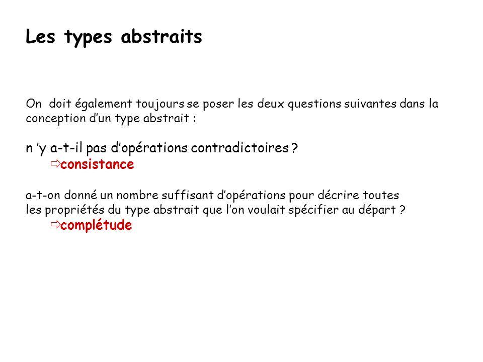 Les types abstraits On doit également toujours se poser les deux questions suivantes dans la conception dun type abstrait : n y a-t-il pas dopérations