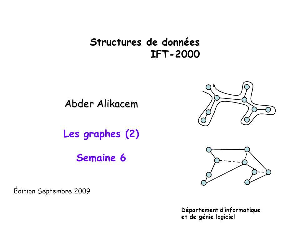 Structures de données IFT-2000 Abder Alikacem Les graphes (2) Semaine 6 Département dinformatique et de génie logiciel Édition Septembre 2009